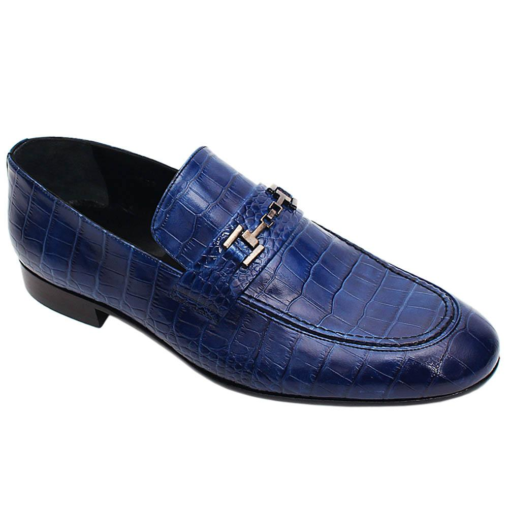 Blue Fillipo Croco Italian Leather Men Horsebit Loafers