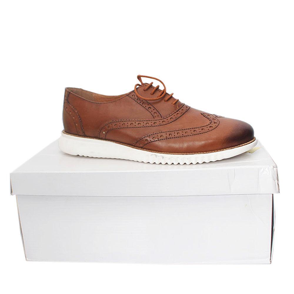 Kurt Geiger Blyth Brown White Leather Comfort Fit Men Shoe Sz 46