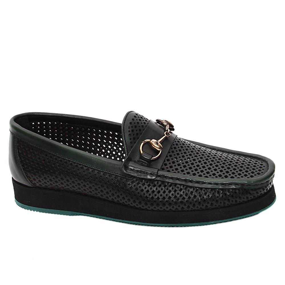 Dark Green Perez Italian Leather Breathable Comfort Slipons