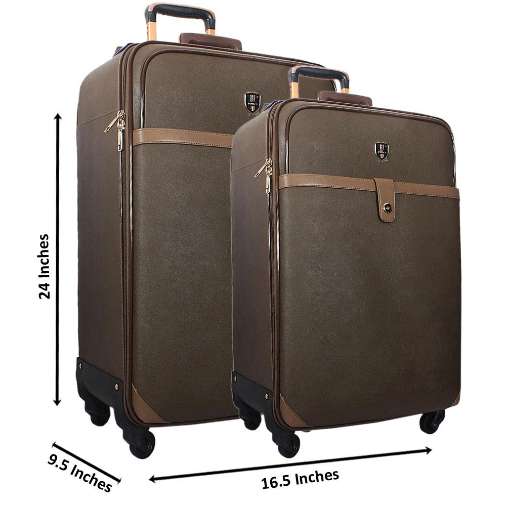 Green 24 Inch Wt 20 Inch 2 in 1 Leather Luggage Set