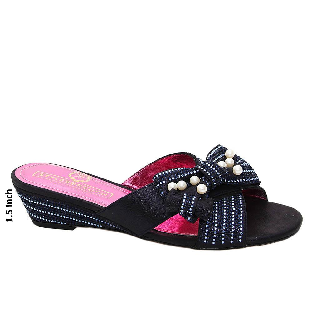 Deep Navy Alicia Studded Italian Satin Leather Low Wedge