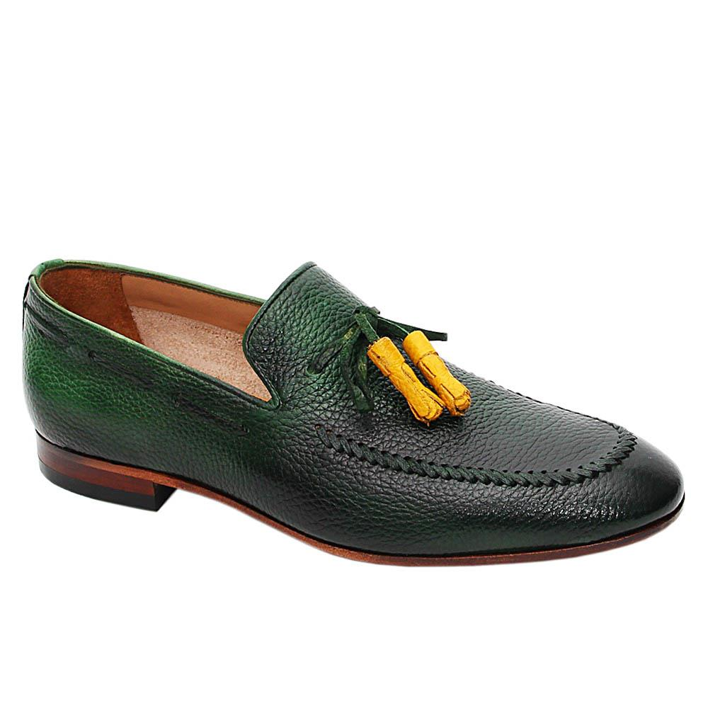 Green Henrique Italian Leather Tassel Loafers