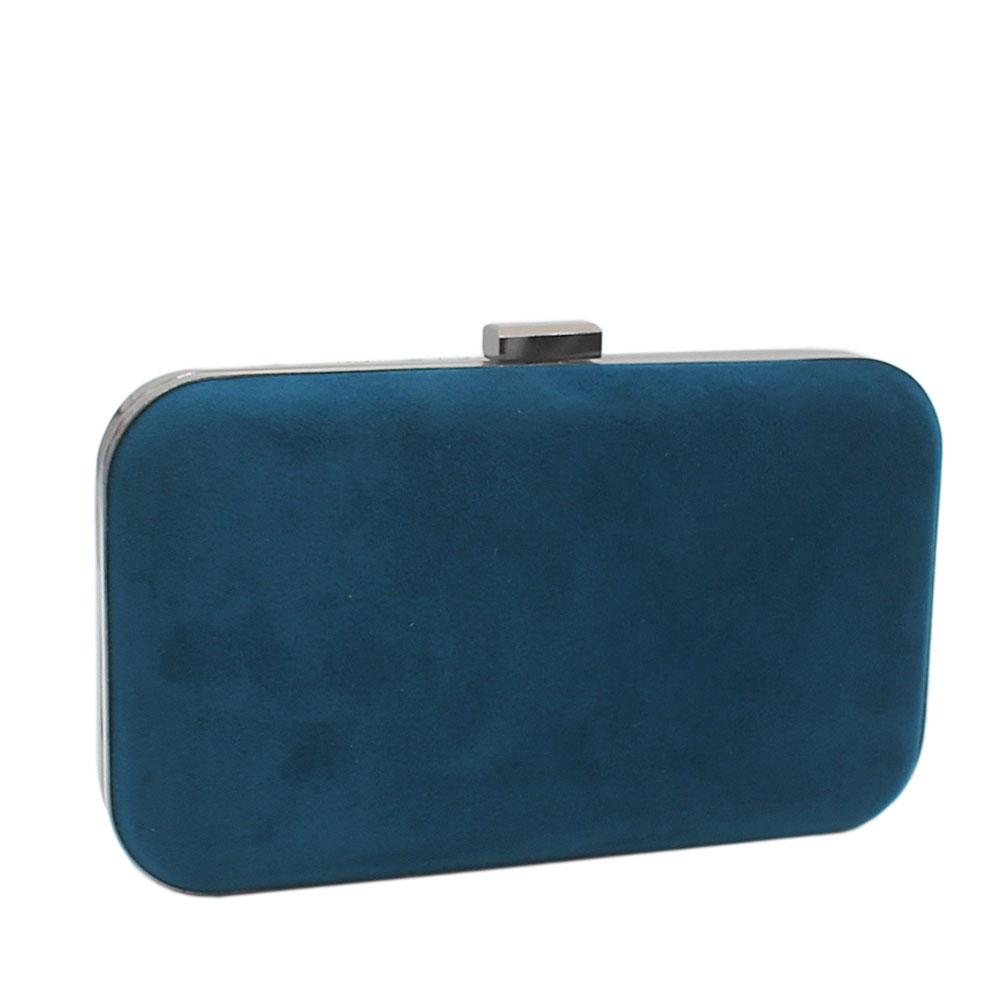Deep Green Suede Leather Clutch Purse