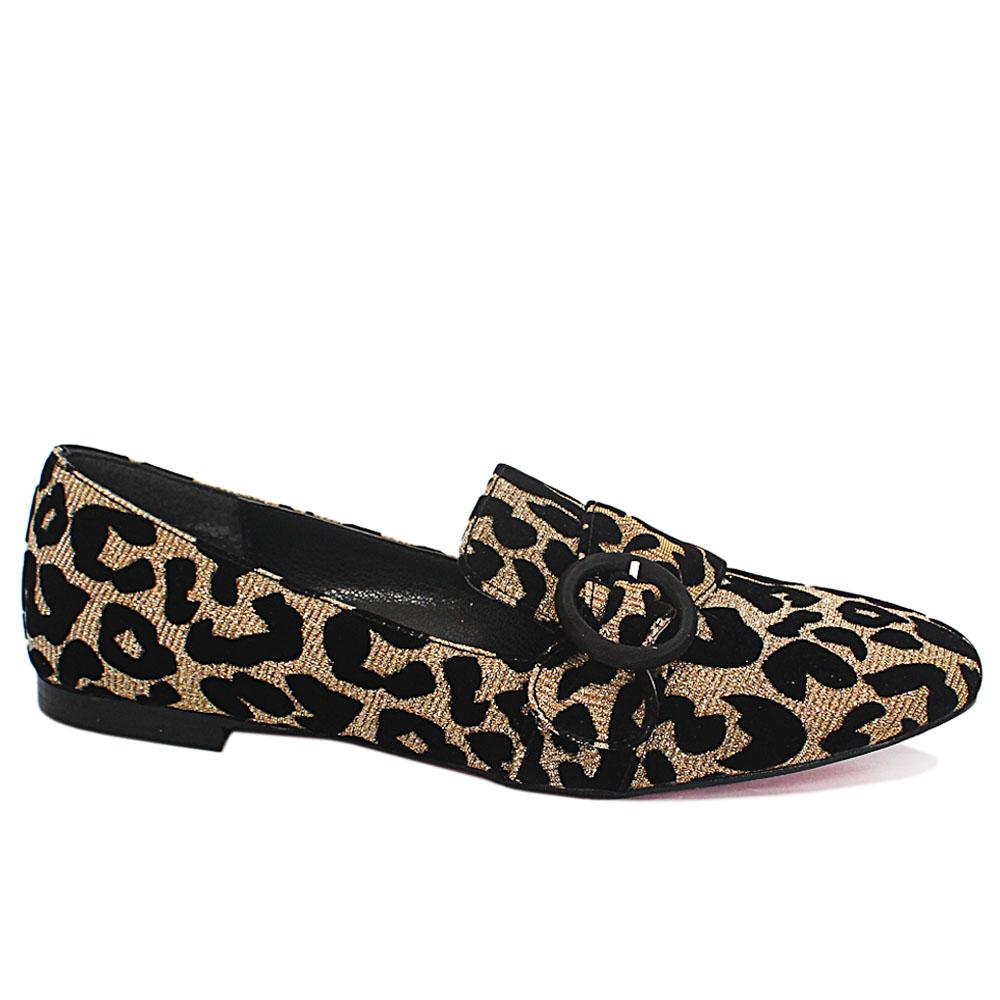 Gold Animal Print Leather Dress Flat Shoes