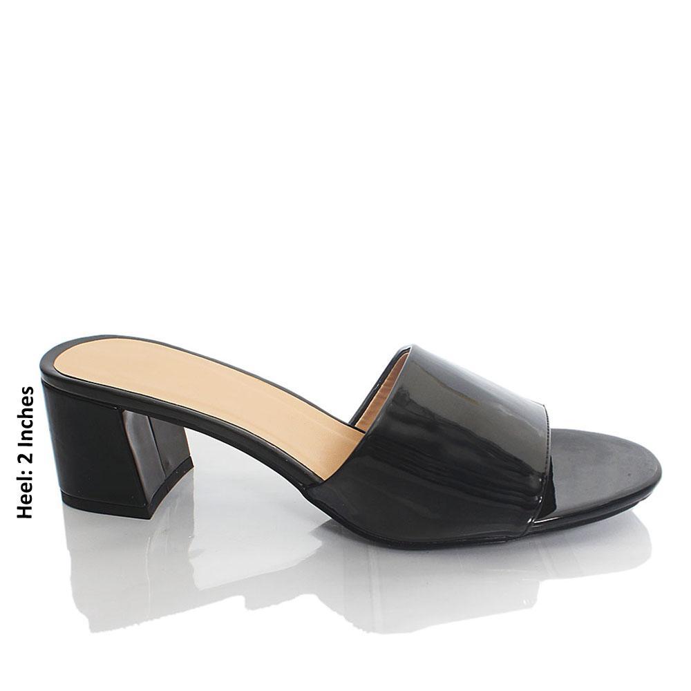 Black Valentina Patent Leather Mule