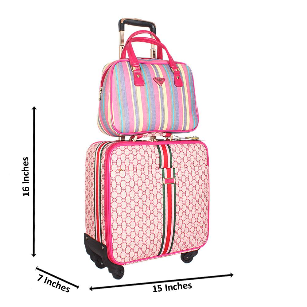 Pink Mix 16 Inch Leather 2 in 1 Pilot Suitcase Wt Lock