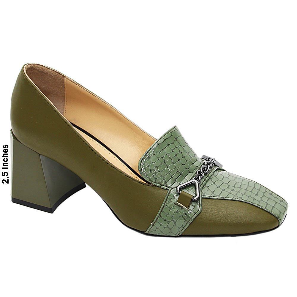 Army Green Nina Molly Italian Leather Mid Heel Pumps