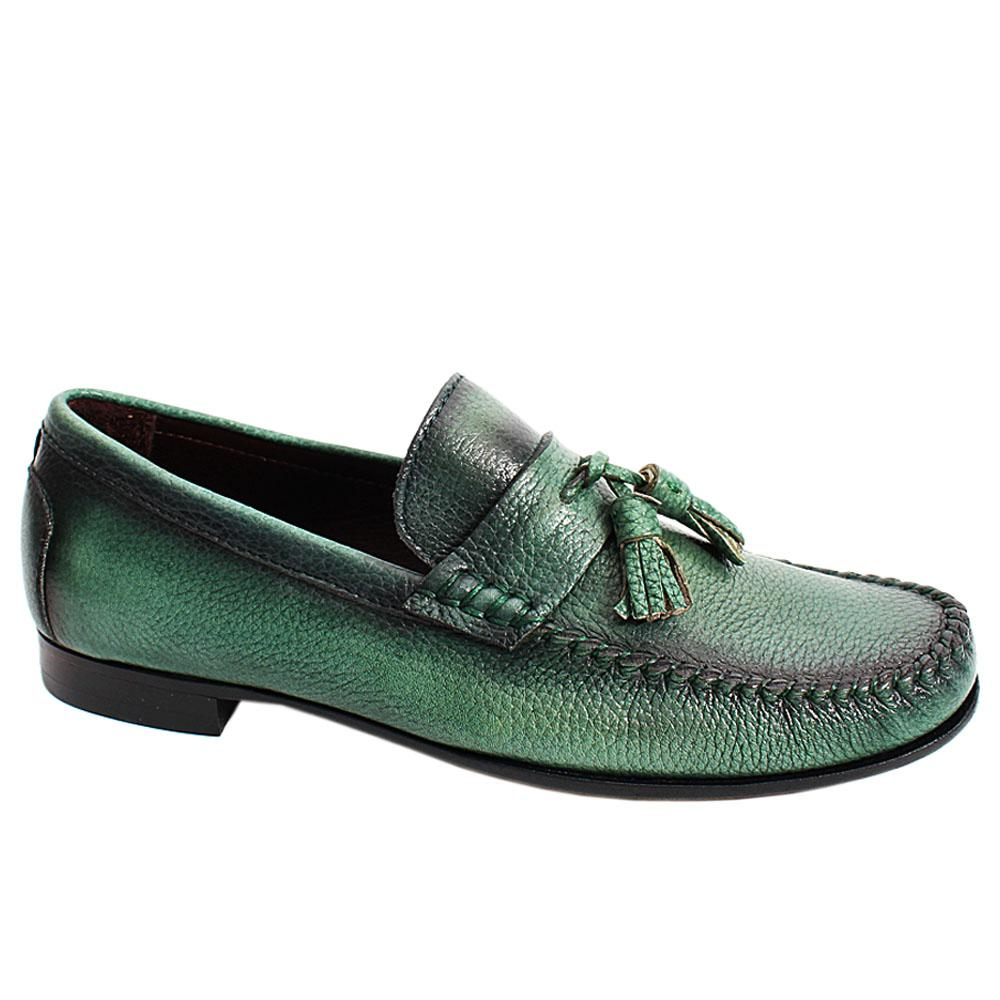 Green Rico Floter Italian Leather Men Tassel Loafers