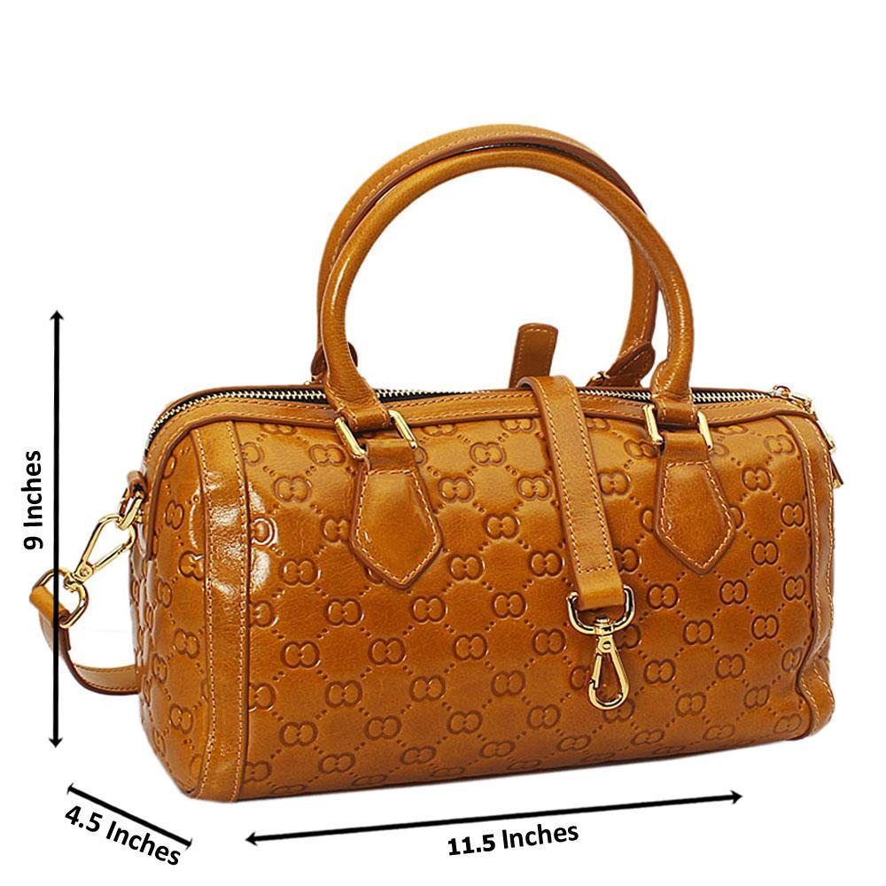 Elle Brownish Yellow Croc Cowhide Leather Small Boston Handbag