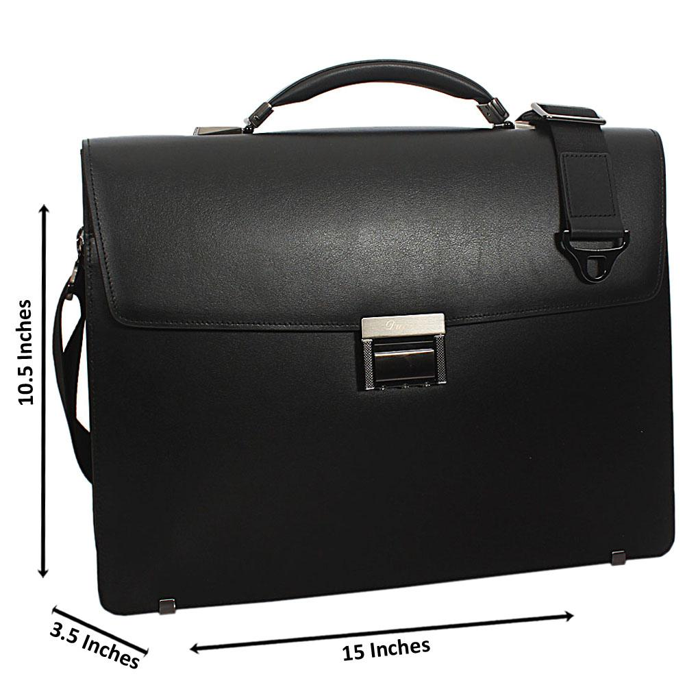 Black Smooth Cowhide Leather Briefcase