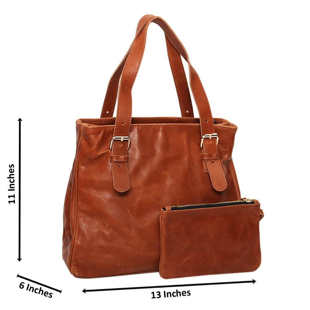 Brown Casiana Cowhide Leather Tote Handbag
