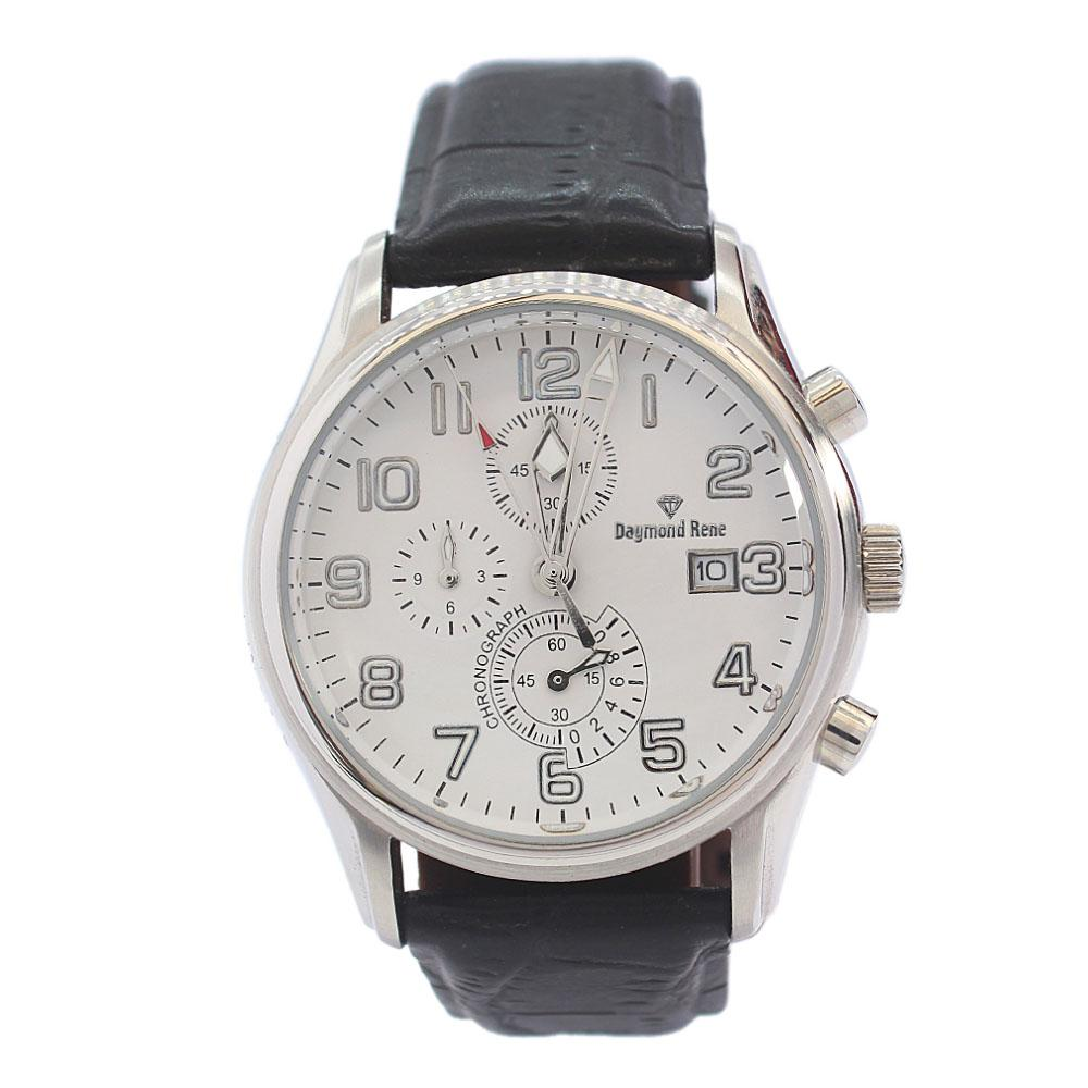 DR 3ATM Silver Black Leather Chronograph Watch