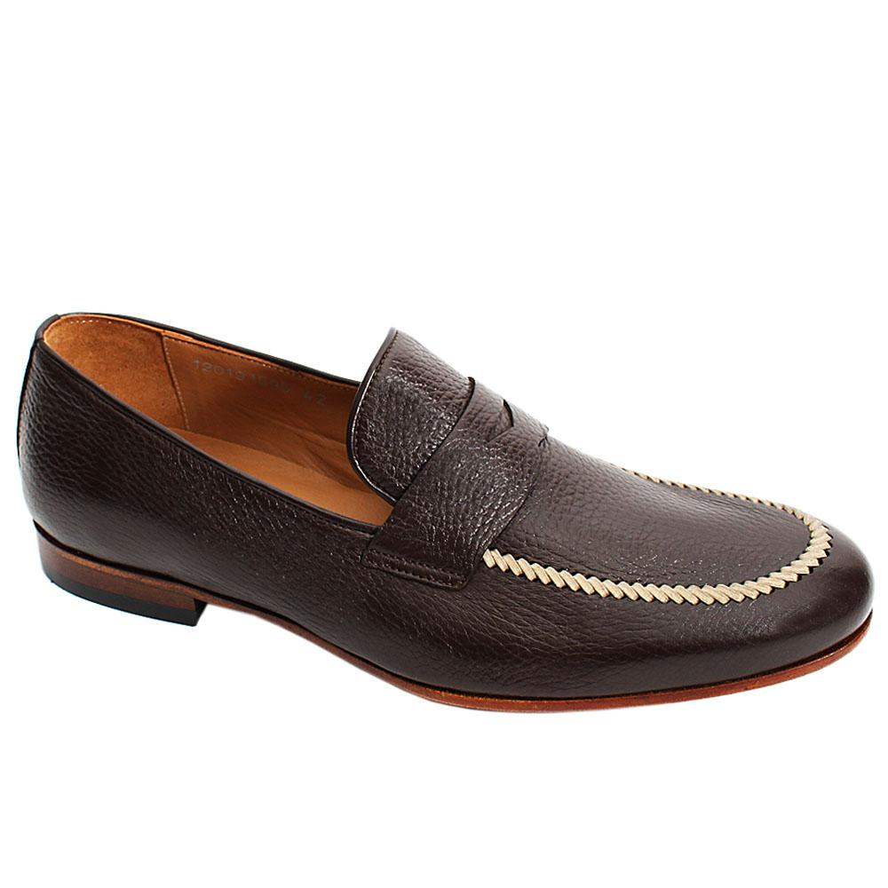 Coffee Brown Romini Italian Leather Men Penny Loafers