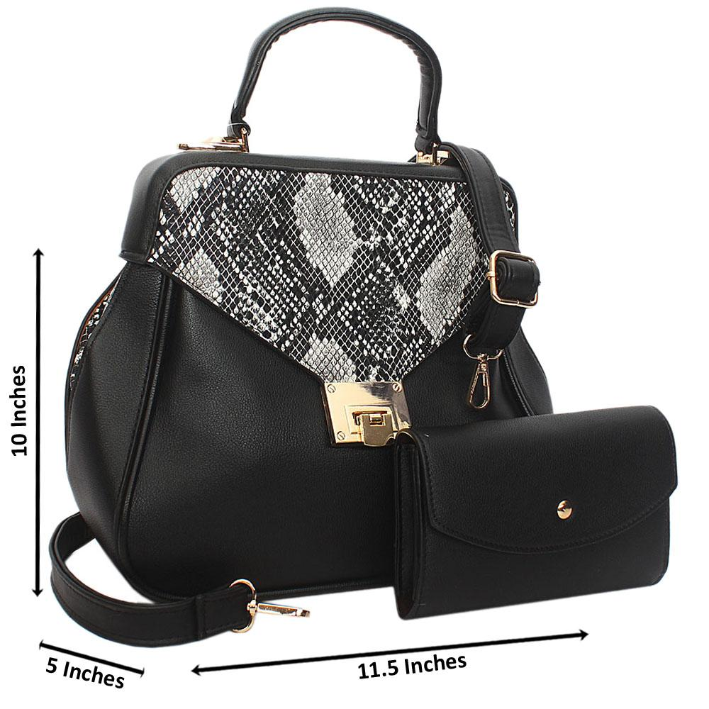 Black Snake Styled Leather Small Top Handle Handbag