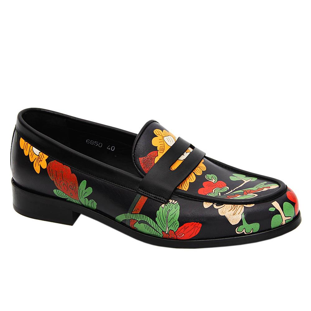 Black Floral Print Giancarlo Italian Leather Penny Loafers