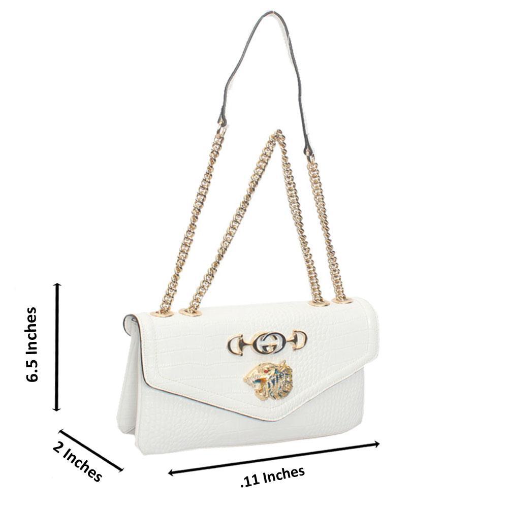 White Croc Saffiano Leather Chain Crossbody Handbag