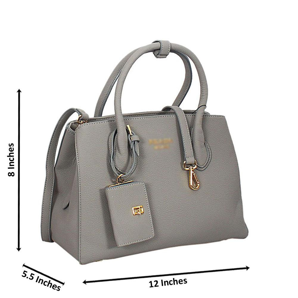 Gray Lucrezia Leather Tote Handbag