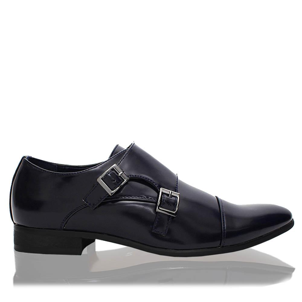 Navy James Patent Leather Men Monk Strap Shoes
