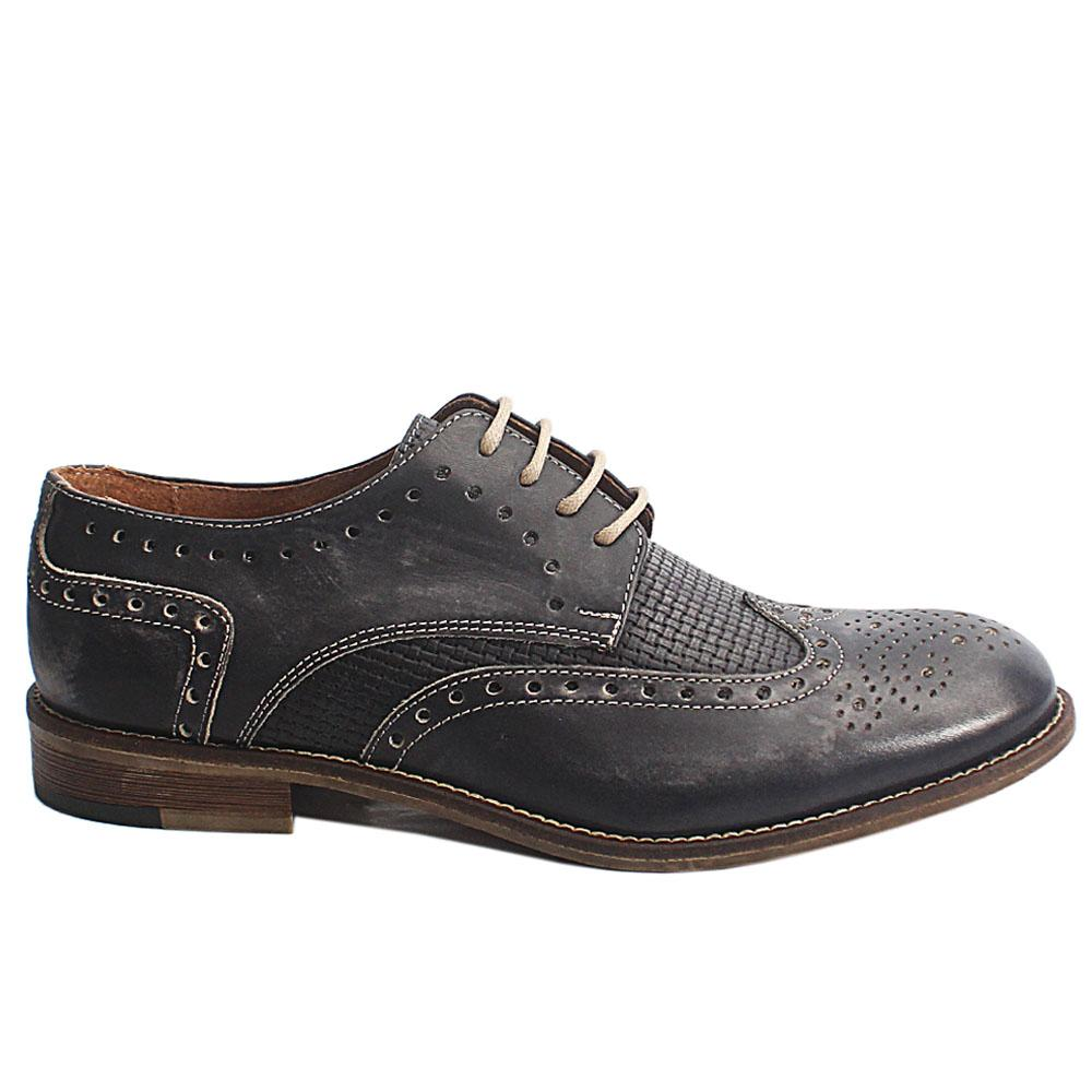 Gray Livio Italia Leather Men Brogue