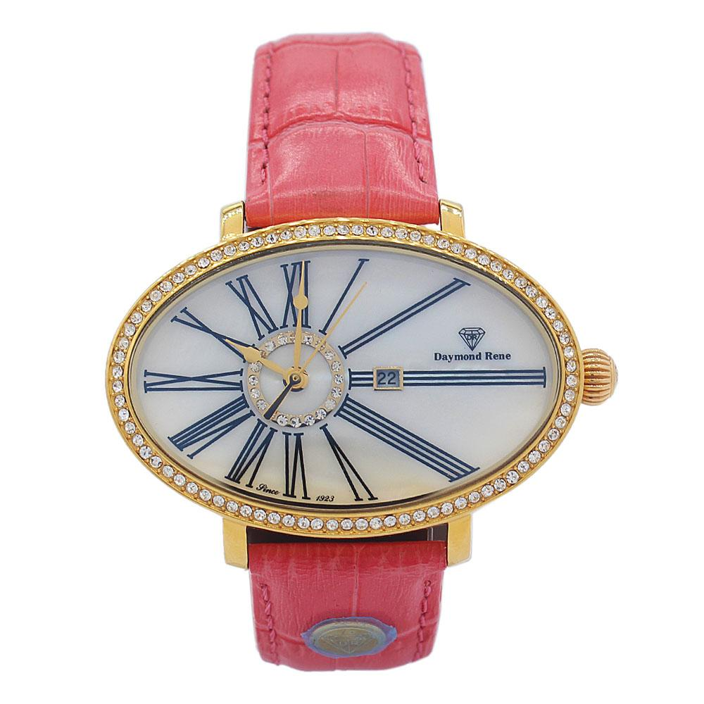 DR 3ATM Gold Pink Ice Leather Oval Ladies Watch