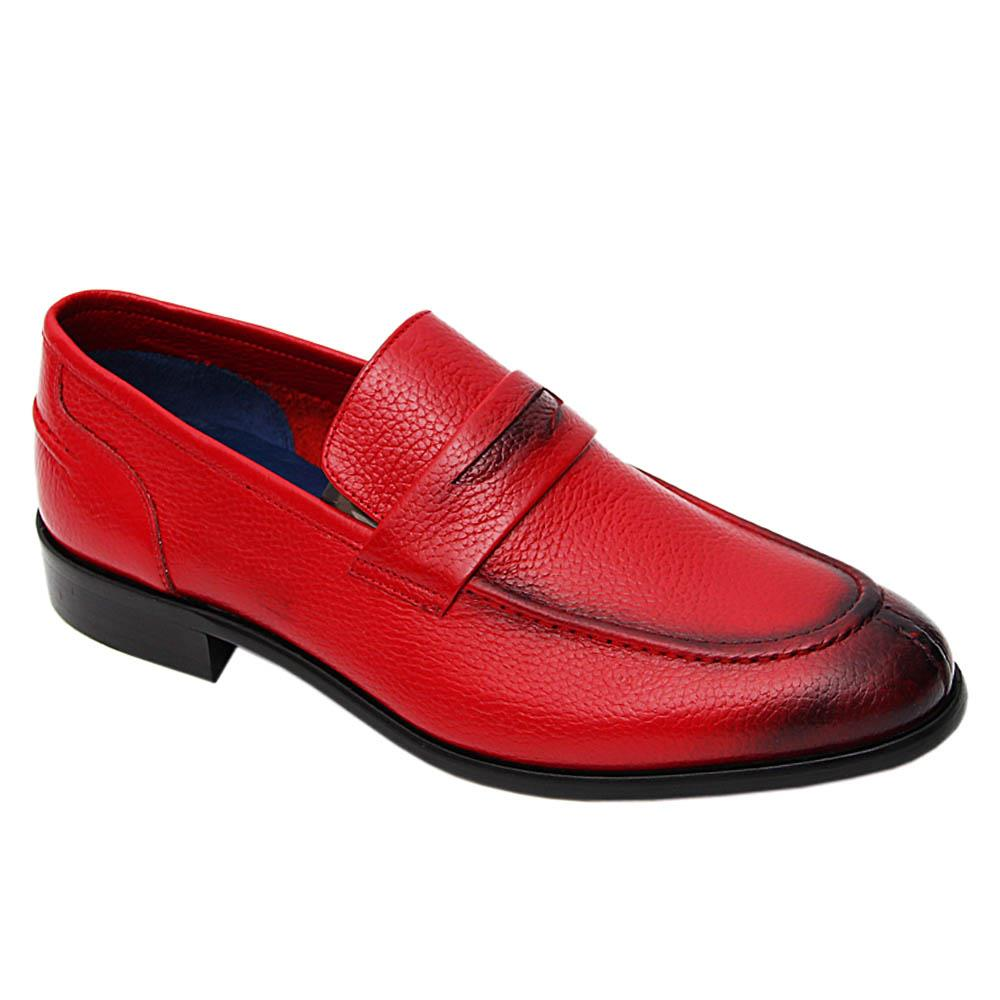Red Leonel Italian Leather Penny Loafers