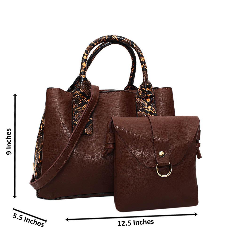 Coffee Mix Snake Skin Leather Medium 2 in 1 Tote Handbag
