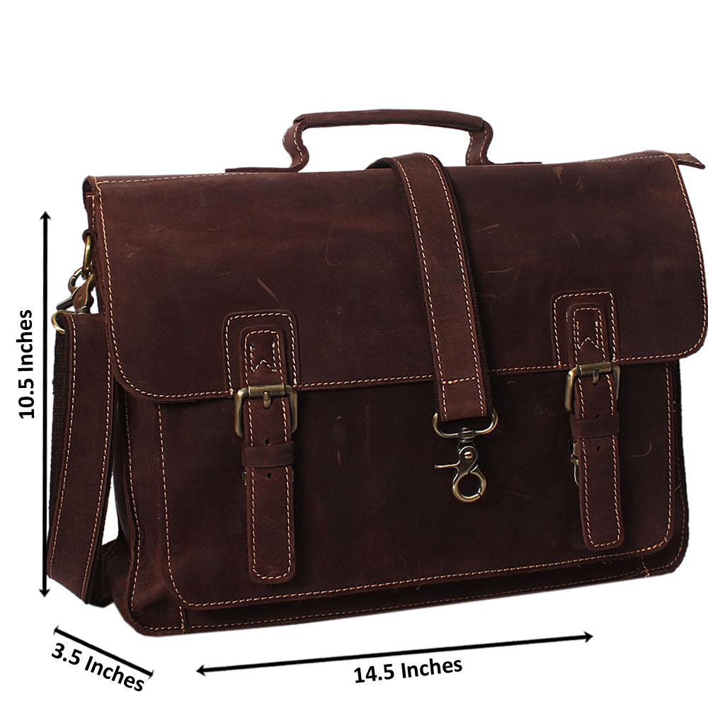Light Brown Cowhide Leather Briefcase