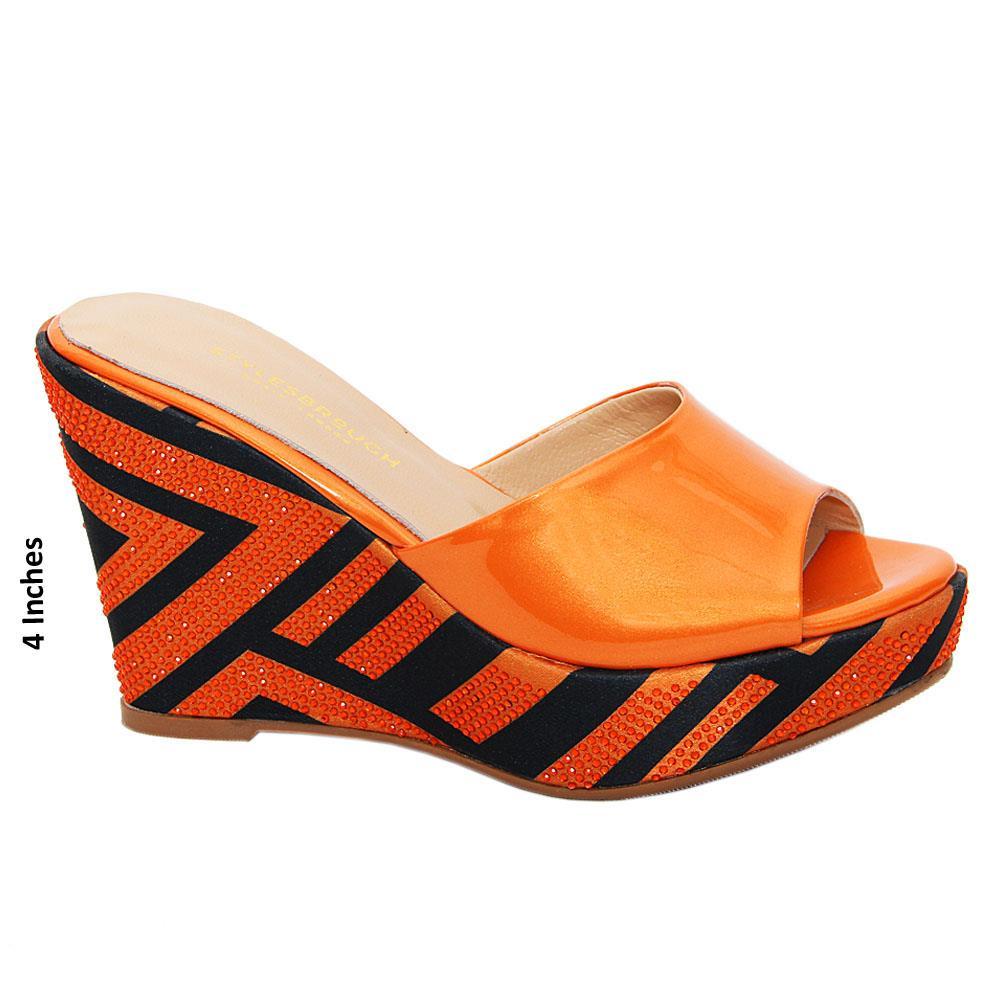 Orange Black Daniela Studded Patent Italian Leather Wedge
