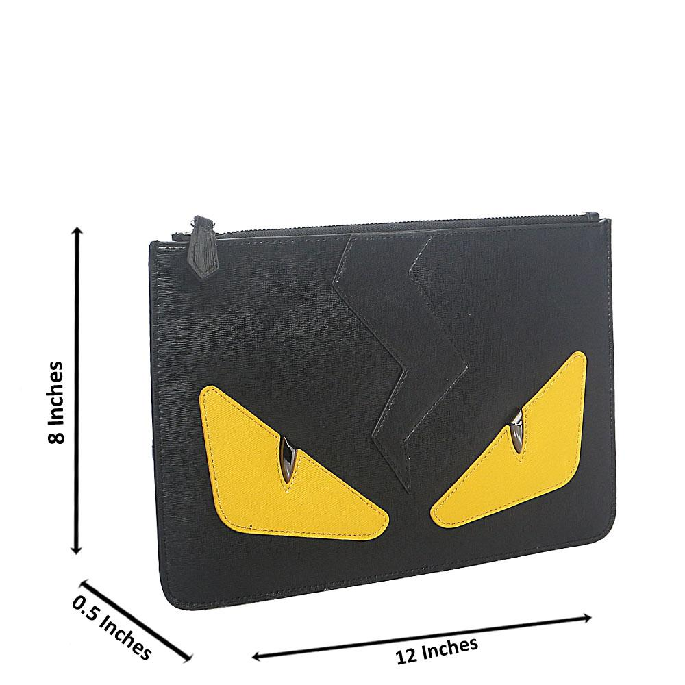 Black Yellow Montana Leather Flat Purse