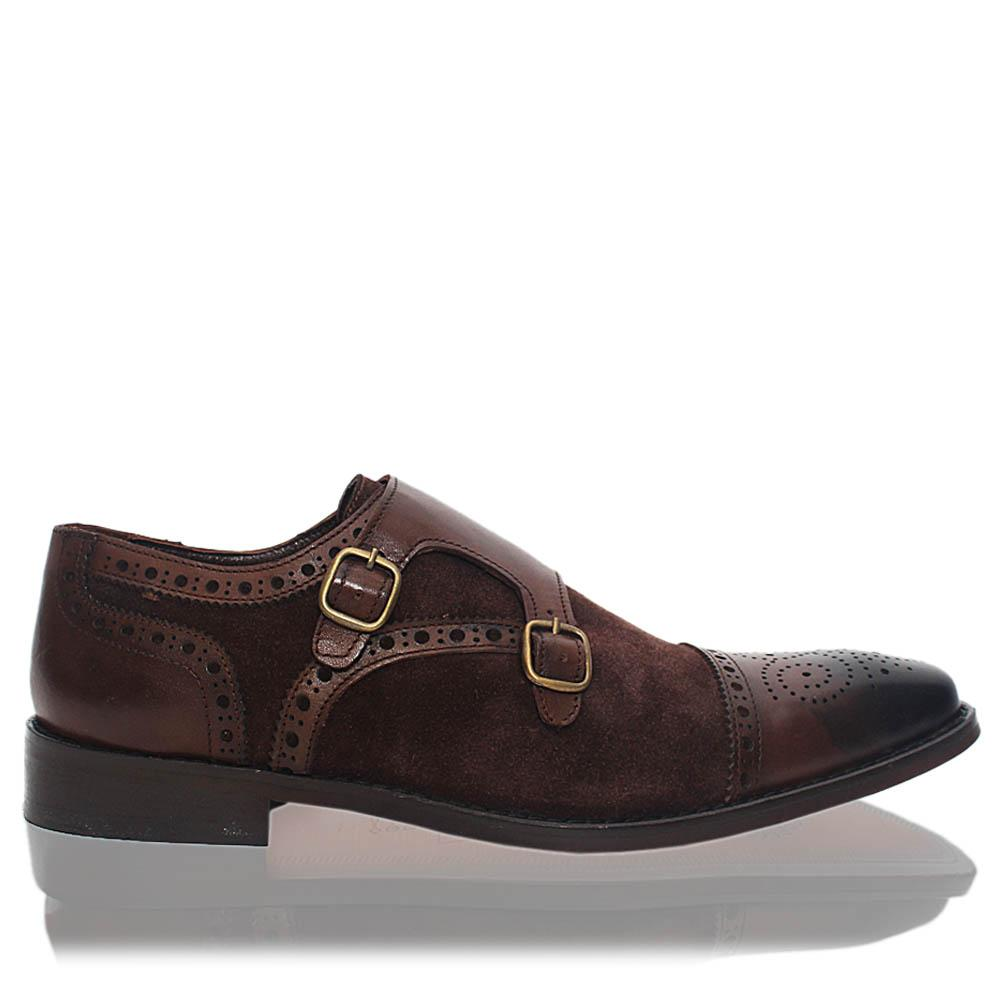 Coffee Myers Suede Leather Men Monk Strap Shoes