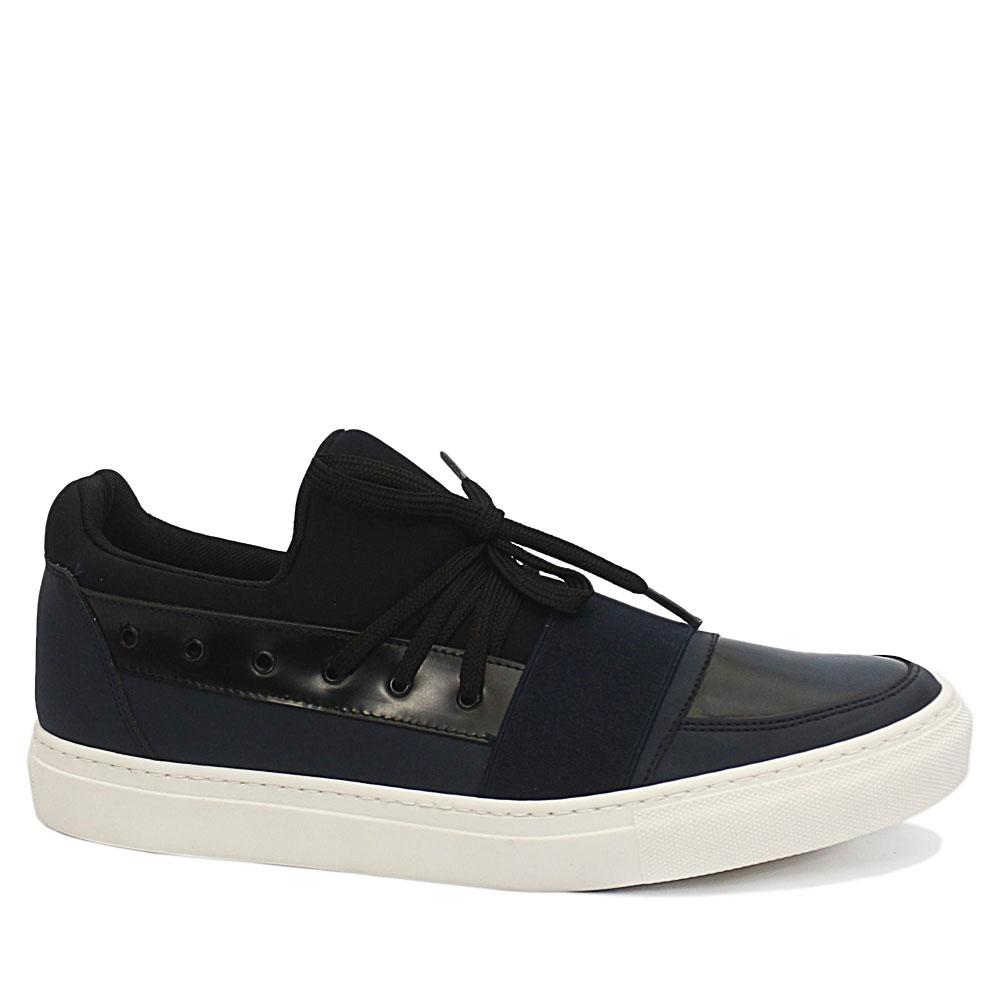 DDM Blue Wesley Mix Fabric Leather Sneakers