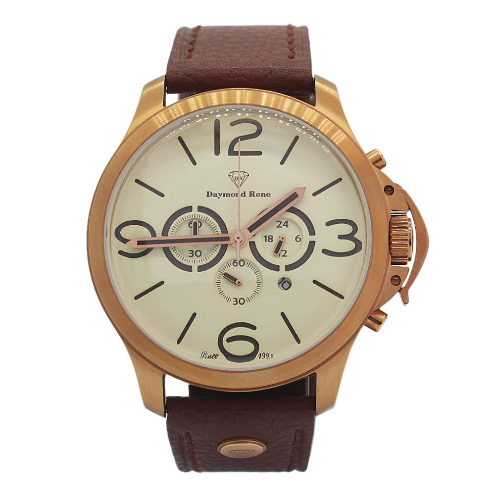 DR 3ATM Gold Brown Leather Chronograph Watch