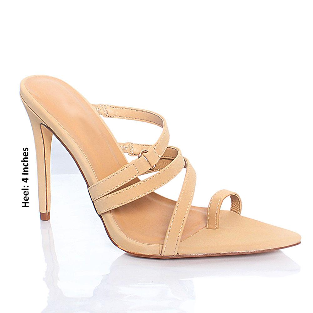 Beige AM Florence Toe Grip Leather High Heel Mule