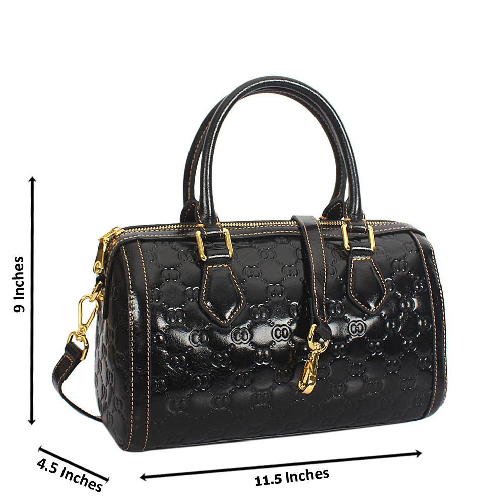 Elle Black Croc Cowhide Leather Small Boston Handbag
