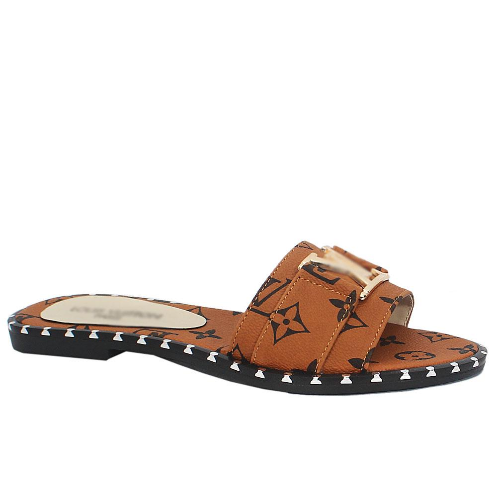 Sz 37 Dominga Brown Leather Flat Ladies Slippers