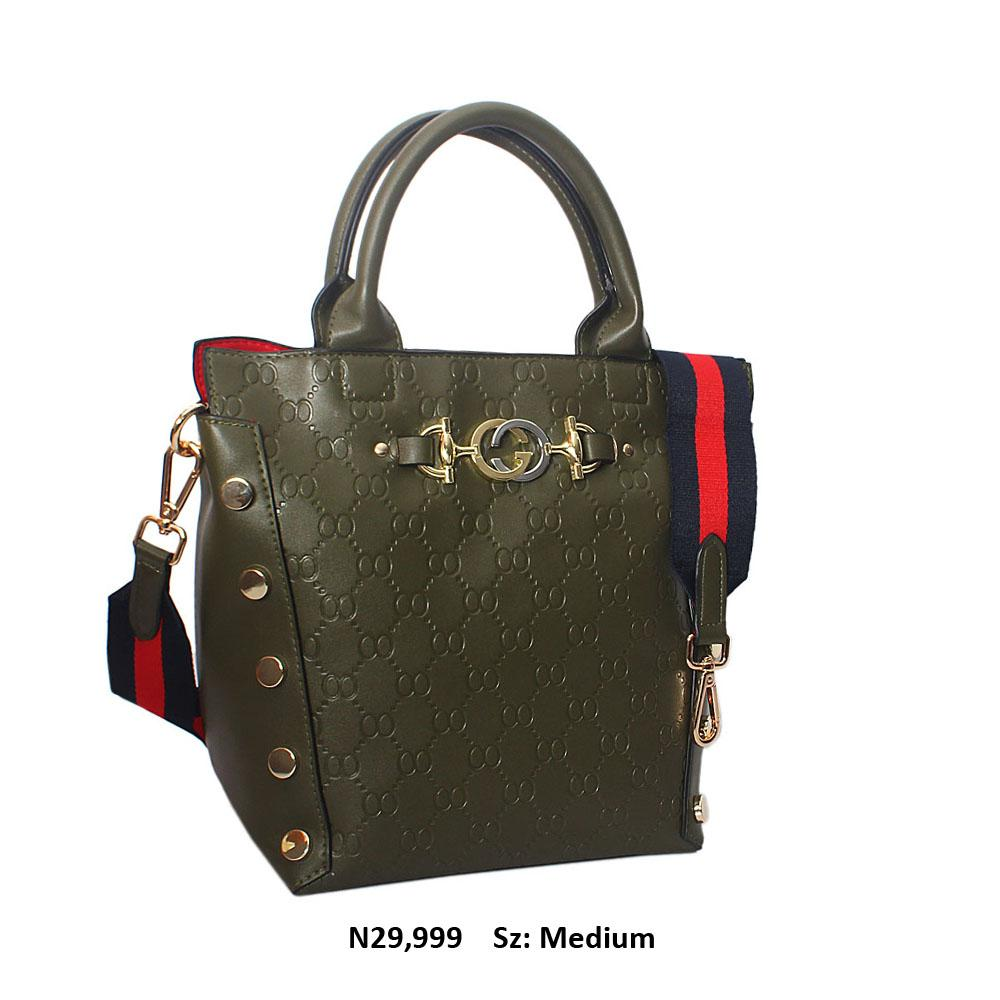 Green Candice Embossed Leather Tote Handbag