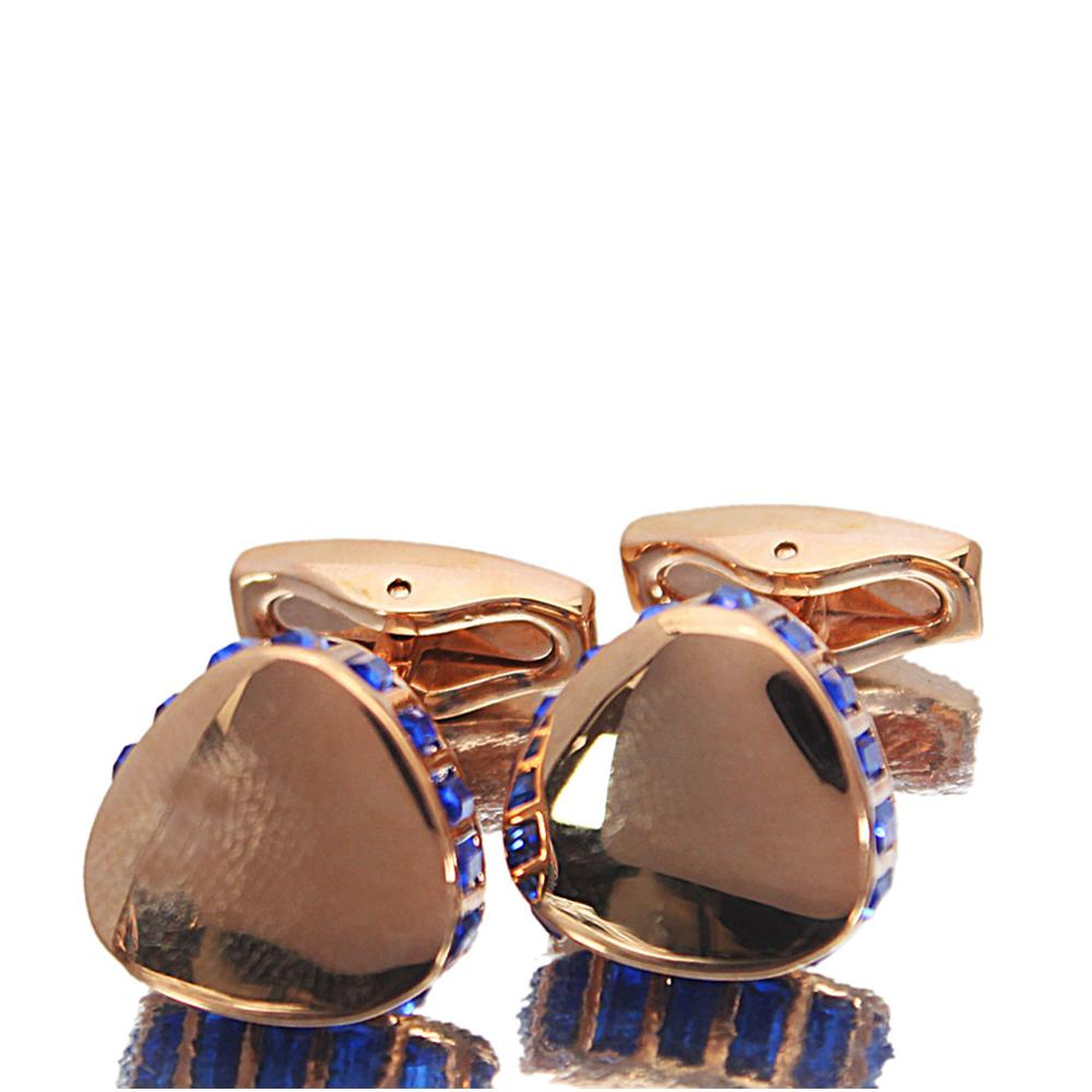 Rose Gold Blue Ice Stainless Steel Cufflinks
