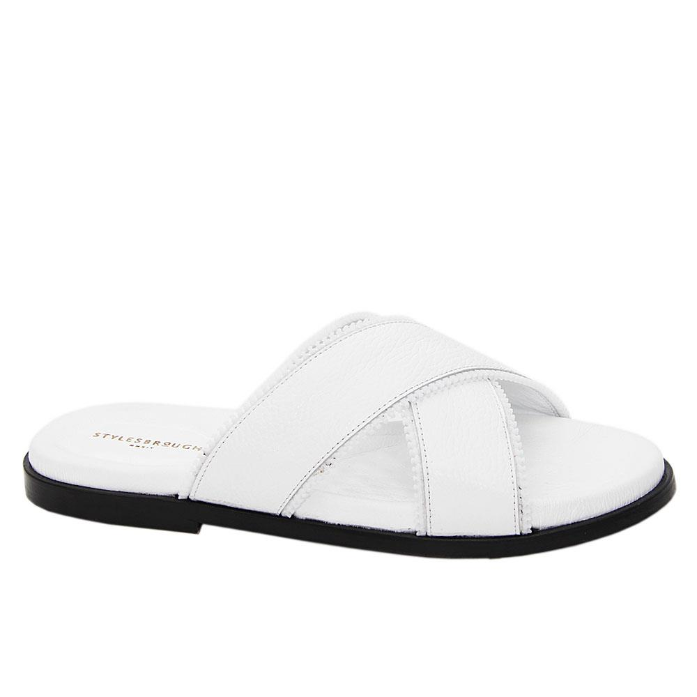 White Memphis Crossover Italian Leather Slippers