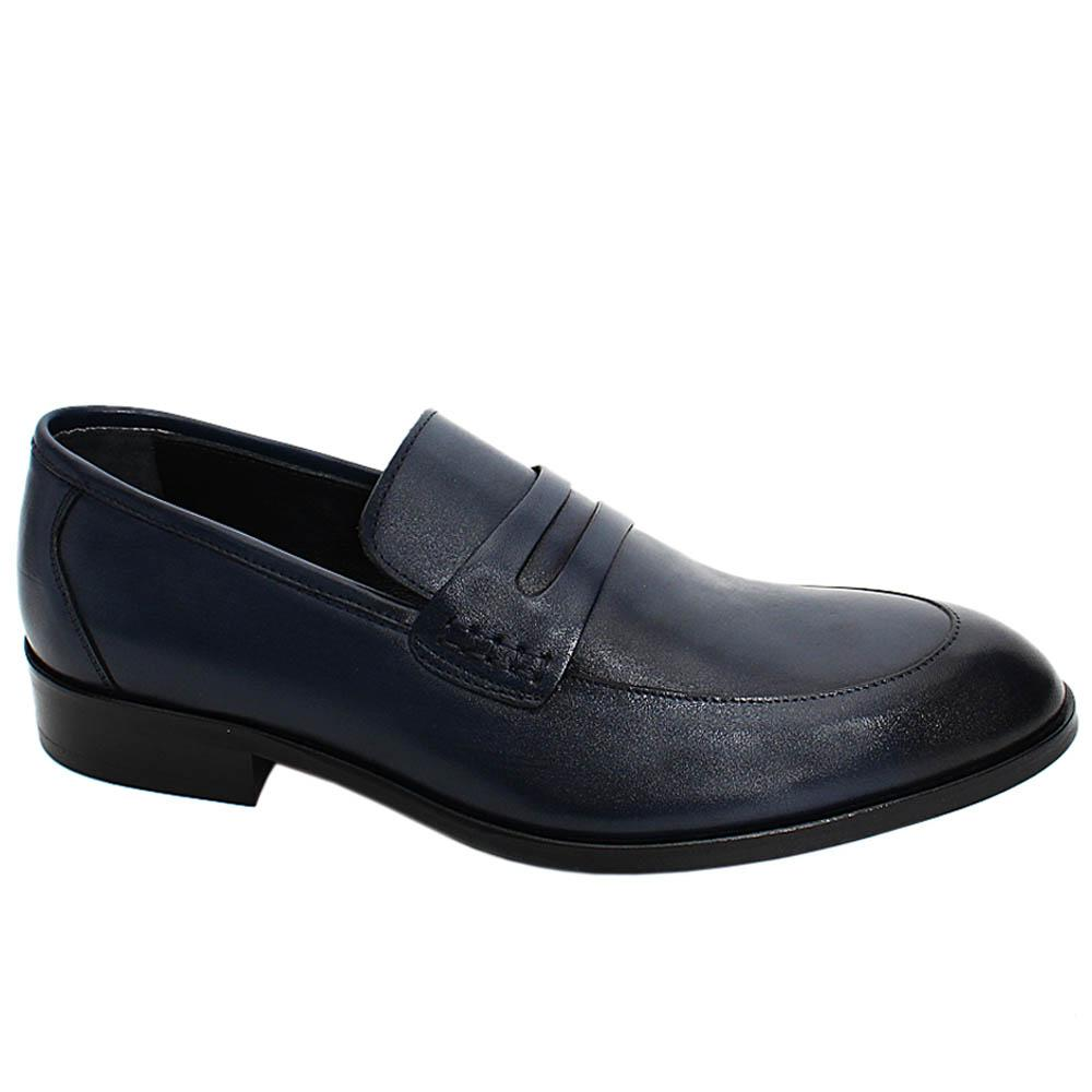 Navy Harrison Leather Men Penny Loafers