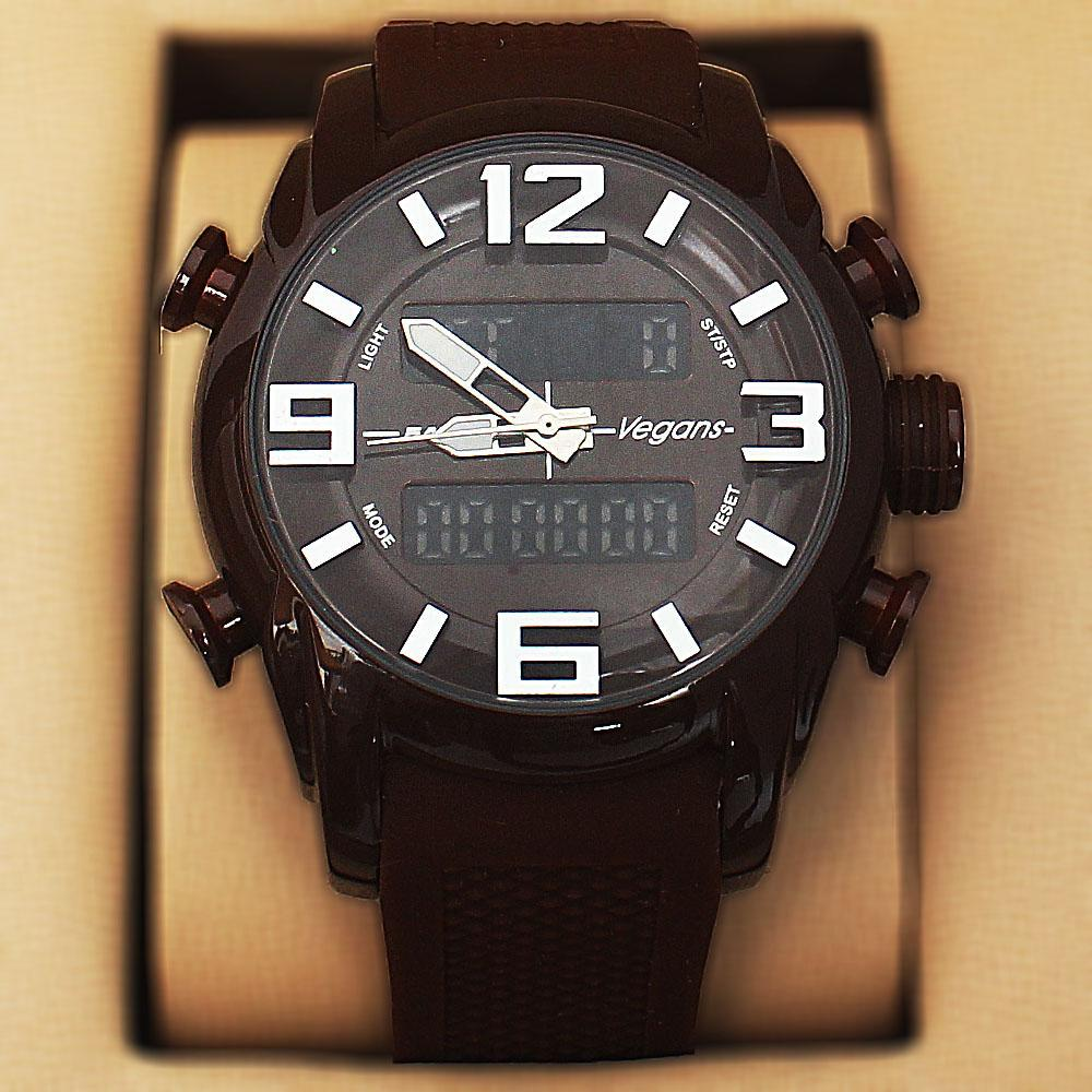 Vegans Brown Rubber 5 ATM Water Resistant Analog Digital Watch