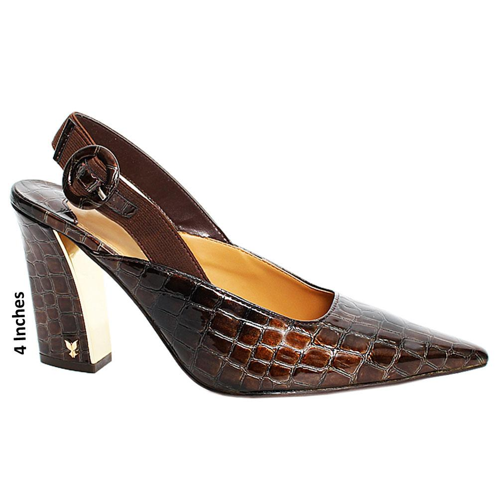 Coffee Liberty Croco Leather Slingback High Heel