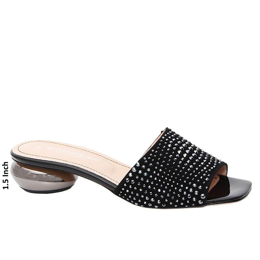 Black Studded Lola Tuscany Suede Low Heel Slippers