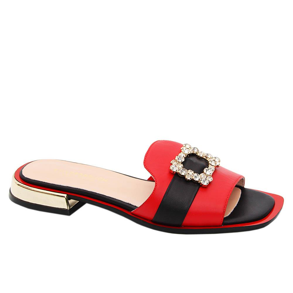 Red Black Natalia Tuscany Leather Low Heel Slippers