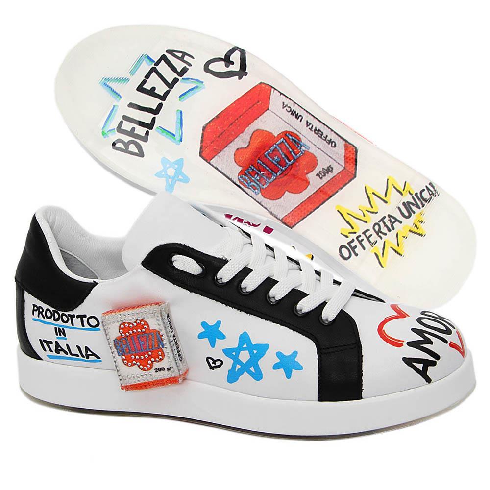 White Billie Graphic Print Italian Leather Unisex Sneakers