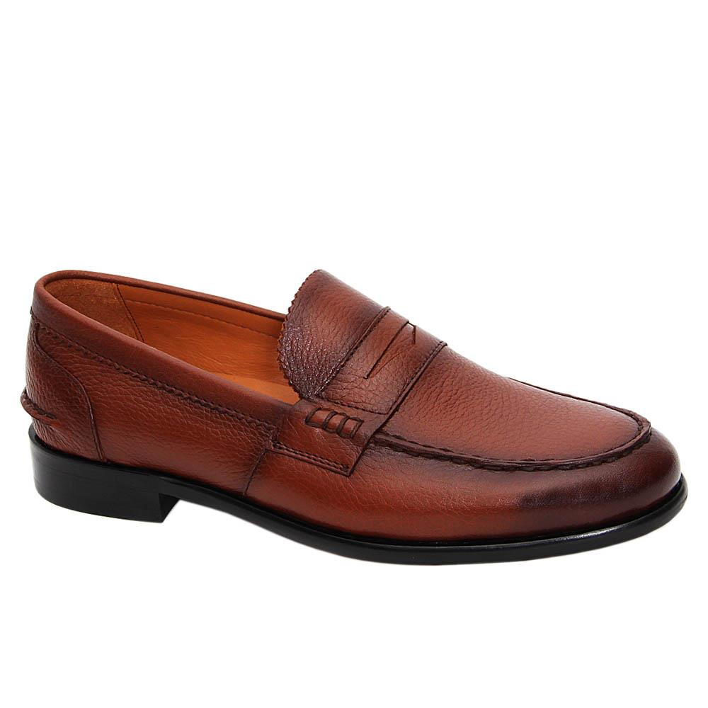 Brown Martino Italian Leather Penny Loafers