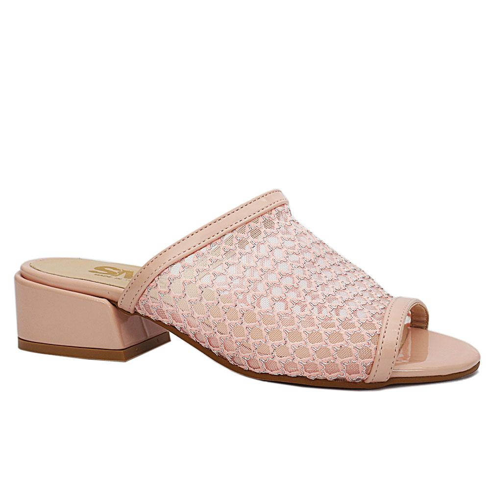 Pink Open Toe Mesh Leather Low Heel Ladies Slippers