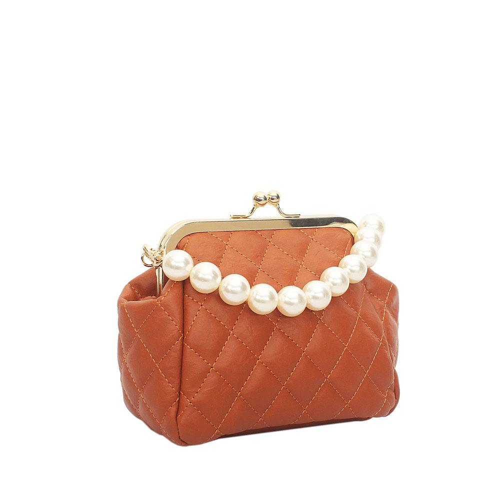Brown Leather Pearl Handle Clutch Purse