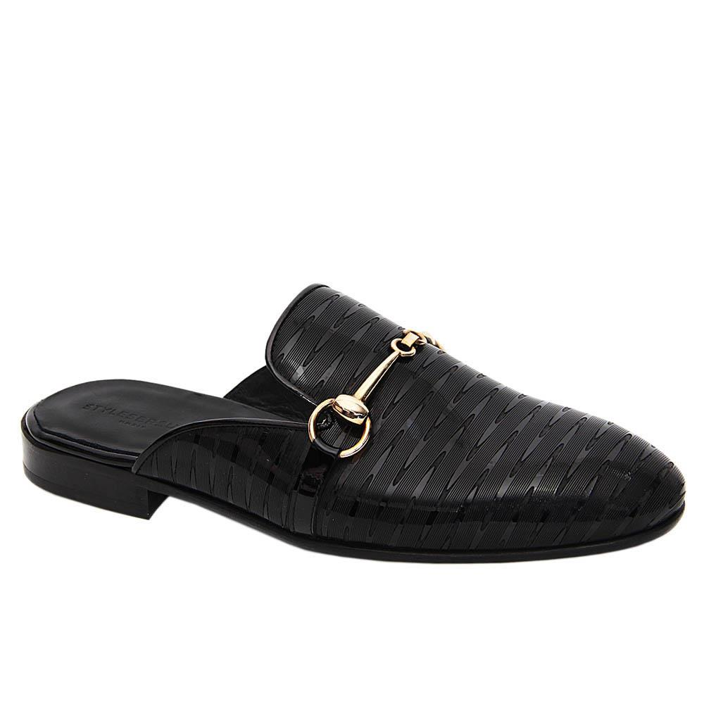 Black Alonso Italian Leather Half Shoe