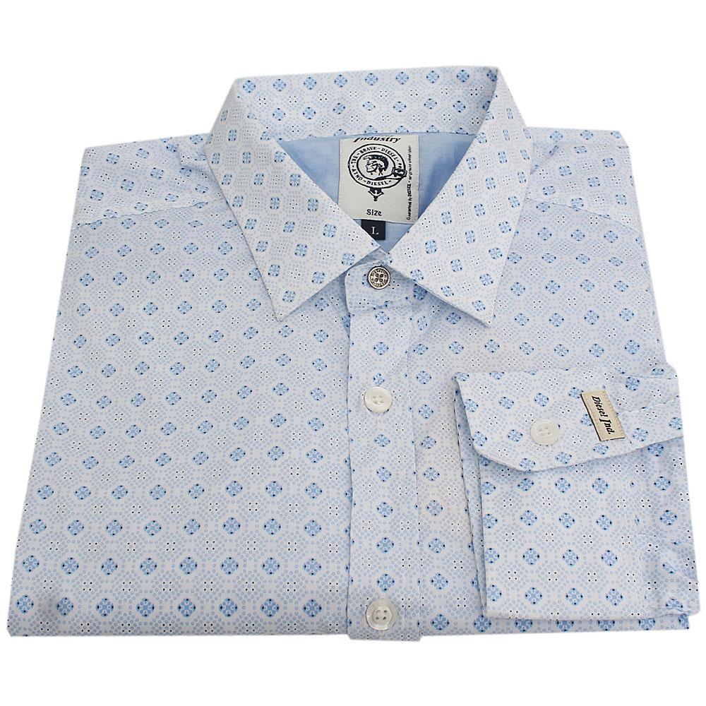 Sky Blue L Sleeve Men Casual Shirt Sz 22
