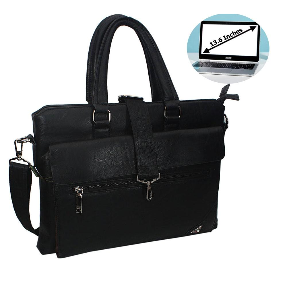 Black EliaLeather Single Flap Briefcase